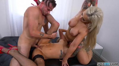 Andy Adams & Anya Gold - Threesome Fuck Feast with Busty Tattooed Babes