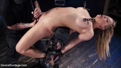 Hot Blonde in Brutal Device Bondage