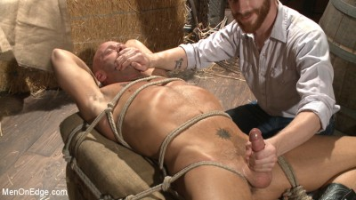 Hot cowboy tied up for the first time and shoots a load onto his face!