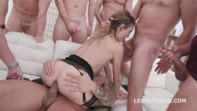 7on1 Submissive Double Anal Orgy For Zoe Sparks