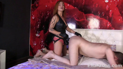 Tormenting my slave with the biggest strap-on ever!