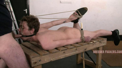 Tied in bondage and gagged for Aiden