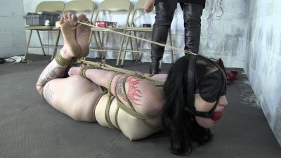 Tight bondage, hogtied and torture for a naked girl in handcuffs