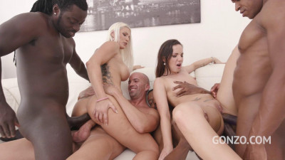 Blanche Bradburry and Kristy Black Assfucked by 5 Huge Cocks