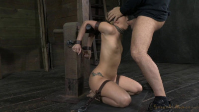 AJ Applegate shackled and blindfolded, facesex with brutal challenging deepthroat, used hard!