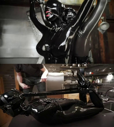 Super bondage, domination and torture for sexy girl in latex