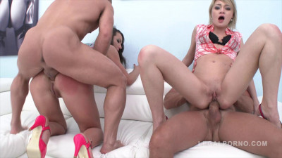 Perfect Nataly Gold & Olivia Devine in anal foursome gangbang & double penetration