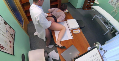 Horny Saleswoman Strikes A Deal With The Dirty Doctor By Sucking And Fucking His Cock