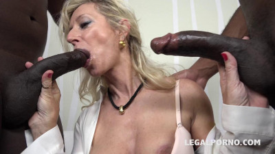 Milf whore Marina Beaulieu takes two big black cocks