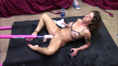 Legs spread and machine fucked
