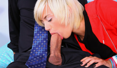 Blonde Swiftly Put His Big Cock In Her Mouth And Sucked It