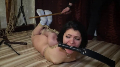 Tight bondage, spanking and hogtie for sexy naked brunette Full HD1080