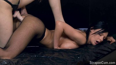 Strapon fun with oil and fishnets
