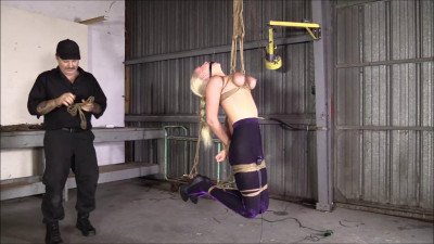 Brendas Bondage — They Turn Purple As She Hangs By Her Bound Breast