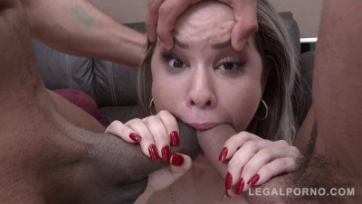 Young latina slut Alice roughed up by three huge cocks