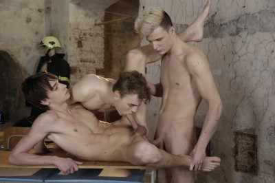 Fire Me Down Sc.1 Life-Saving Drill Results In Fiery Spunk-Drenched Threeway! (2016)