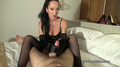 Sensual Black Satin Glovejob - HD 720p
