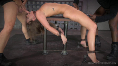 All natural redhead Maddy O'Reilly shackled down vibrated and Anallly pounded by 2 big cocks!