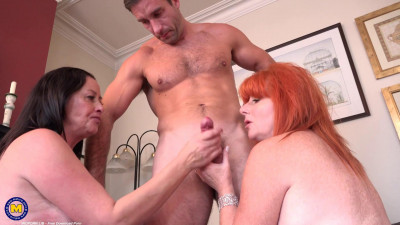 Two horny mature housewives getting it on with a salesman 1080p
