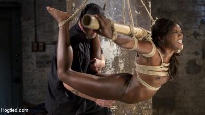 Stunning Ebony Slut in Brutal Bondage and Tormented