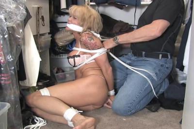 Mandy K-MILF Cat Burglar caught in the act and tied up in her panties