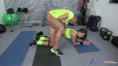 Fit brunette has a creampie workout - FullHD 1080p