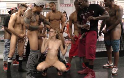 Skinny Alexa Grace Gangbanged At Porn Shop
