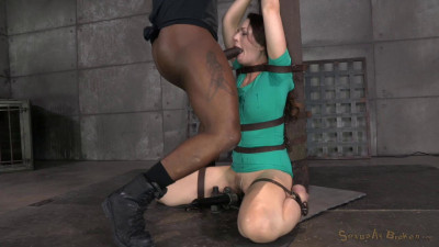 Description Sexy Sarah Shevon belted down and throatboarded by two huge.high