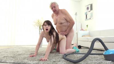 Description Old man makes sweetie kneel