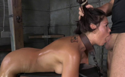 Busty brunette Ava Dalush chained and shackled in strict bondage, brutal deepthroat and rough sex!