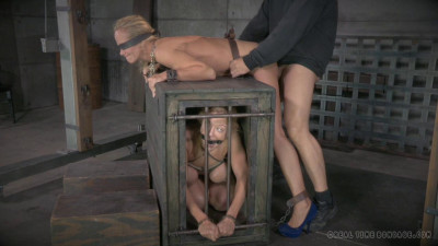Cougar Simone Sonay blindfolded, bent over a box, pounding Anal!
