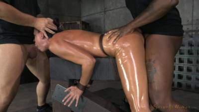 India Summer shackled down and used hard by two cocks at once