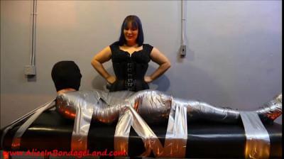 Flashback Friday – Layered Pantyhose Tape Mummification Bondage Handjob Pt 2