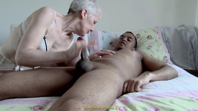slim mature masturbates and suck black cock