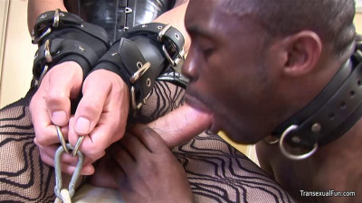 Shemale Mistress with another shemale and black sub guy by am