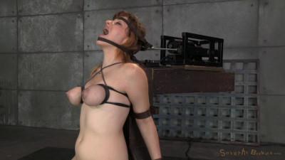Redhead Jessica Ryan in strict bondage on sybian, brutal messy deepthroat