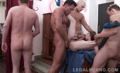 Anna De Ville in brutal anal orgy with four huge dicks