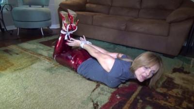 BDSM Leggy blonde babysitter bound by giggling girls