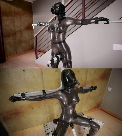 Super bondage, domination and torture for hot angel in latex