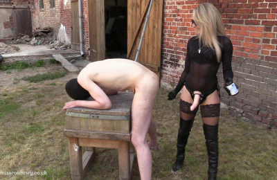 Mistress Courtney Strap-On Her Slave At The Farm