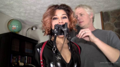 Enchantress Sahrye - Leather Strap Hogtie In PVC Catsuit