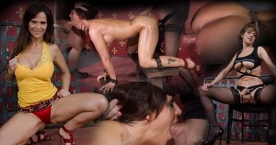 Rough sex and lesbian strap on