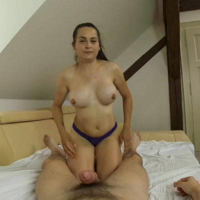 Ashley Woods - Ponytail brunette rides hard cock in pov FullHD 1080p