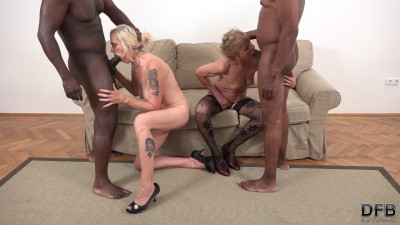 Lilla, Violet - Grannies Interracial BBC Threesome