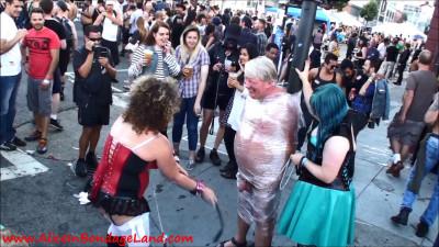 Folsom Street Fair Public CBT - Lightpost FemDom Ballbusting Humiliation