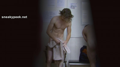 This lean dirty blonde footballer getting dressed after his shower is a bit
