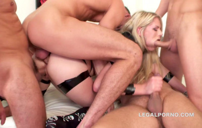 Blond bitch gangbanged & destroyed by hard dicks