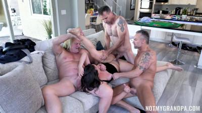 Busty Nicole Sage Gangbanged By 3 Older Men