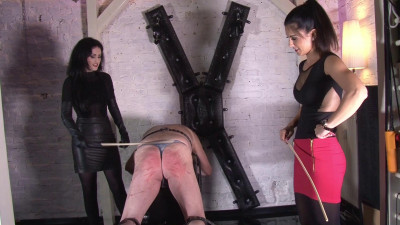 Caning on his naked ass