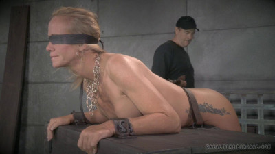 Cougar Simone Sonay blindfolded, bent over a Box
